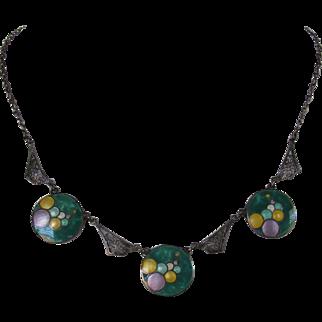 Art Deco Sterling Silver Filgree Enamel Bubble Necklace