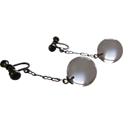 Antique Sterling Silver Pools of Light Earrings