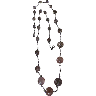 Antique Sterling Silver Rutilated Rock Quartz Pools of Light Necklace
