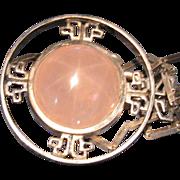 Vintage Star Rose Quartz Pools of Light Sterling Necklace