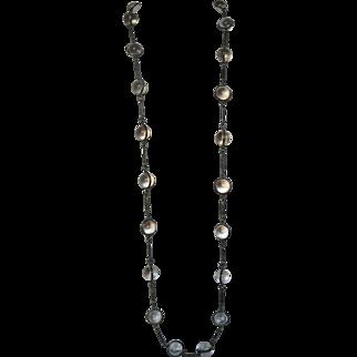 Antique Sterling Silver Rock Quartz Pools of Light Necklace