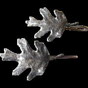 Rare James Avery Sterling Silver Oak Leaf Earrings