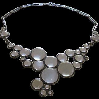 Art Deco Rock Quartz Orbs Pools of Light sterling Bubble Necklace