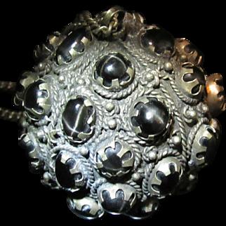 Antique Black Star Diopside Etruscan Orb Pendant Necklace