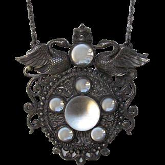 Vintage Sterling Silver Rock Quartz Pools of Light Necklace