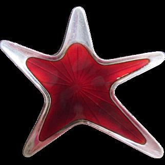 Vintage MEKA Red Enamel Sterling Star Brooch Mid Century Modern Scandanavian Pin Denmark Mod