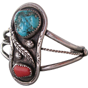 Vintage Silver Turquoise Coral Cuff Bracelet Southwestern Style