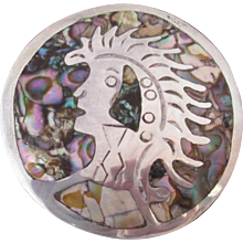 Sterling Silver Inlaid Abalone Shell Mexico Tribal Chieftan Theme Vintage Brooch Pin