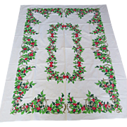 Beautiful Vintage Holiday Cotton Tablecloth Holly Berries Bows Christmas Colors Mid Century Mod Era