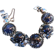 WEISS Designer Vintage Blue Cabochon Bracelet Rhinestones Quality Piece