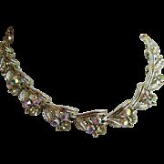 Lovely LISNER Vintage Aurora Borealis Rhinestone Necklace circa 1950s