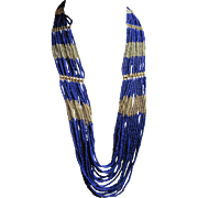 Fabulous Vintage Tribal Ethnic Necklace Multi Strand Cobalt Blue Silver Seed Beads - Red Tag Sale Item