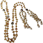 Gorgeous Long Freshwater Pearl Citrine Nugget Necklace Flapper Style
