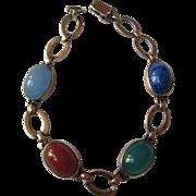Vintage Sterling Silver + 14K Gold Bracelet Semiprecious Stones Lapis Carnelian Chrysophase Moonstone Symmetalic