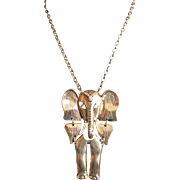 Fabulous Bold Elephant Necklace Movable Ethnic Tribal Jewelry Dangles