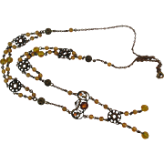 Antique Edwardian Brass Glass Citrine Necklace Exquisite Details