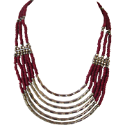 Fabulous Tribal Ethnic Multistrand Necklace Deep Dark Red with Silver Dramatic Design
