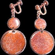 Vintage Enamel on Copper Drop Disk Dangle Earrings Screwbacks 1950s era MOD Mid Century
