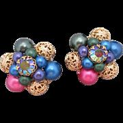 Wonderful Vintage Earrings Great Colors Filigree Aurora Borealis Clip Backs NICE
