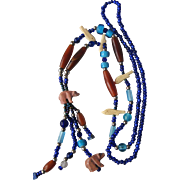 Southwestern Style Necklace Carved Animals Heishi Glass Beads Cobalt Turqouise Caramel Amber