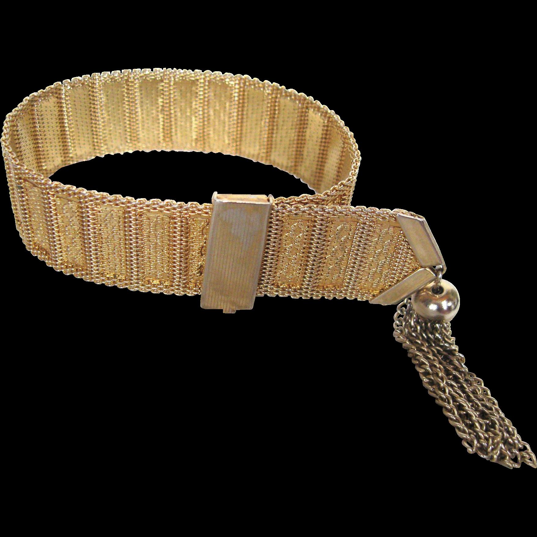 Vintage Gold Mesh Bracelet with Tassel Fringe Clamp