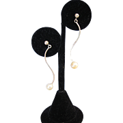 Vintage Sterling Pearl Drop Dangle Earrings Modern Modernistic Style Mod Design