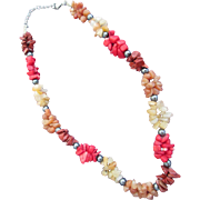 Vintage Semi Precious Nugget Necklace with Hematite Beads Warm Colors