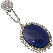 Rare Dress Clip Sapphire Blue Glass Faux Marcasites Clip Silvertone Metal WOW