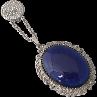 Rare Dress Clip Sapphire Blue Glass Faux Marcasites Clip Silvertone Metal WOW
