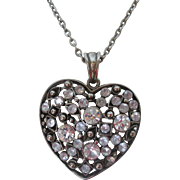 Beautiful Heart Pendant Necklace encrusted with Rhinestones