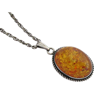 Vintage Genuine Amber as Pendant with Sterling Silver Chain and Bezel Setting