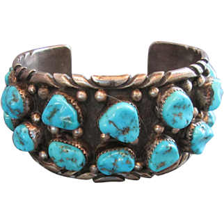 Vintage Sterling Silver Signed Navajo Cuff 18 Stones Large Heavy LT Artist 89 Grams Sawtooth Bezels Oxidized Base Beading