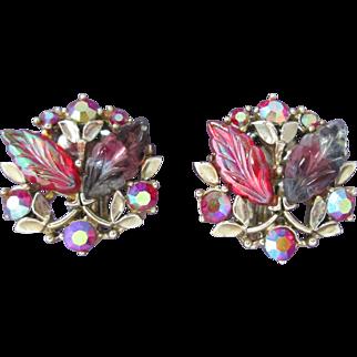 Luscious BSK Vintage Clip Earrings Givre Glass Aurora Borealis Designer Signed Raspberry Colors