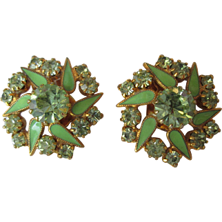 Gorgeous WEISS Earrings Peridot Green Glass and Enamel Pinwheel in Center