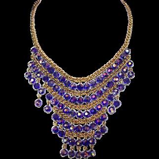 Fabulous Vintage Bib Style Necklace Deep Blue Glass Beads Aurora Borealis Finish is Purple Deco Style