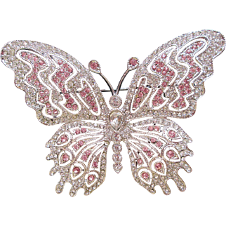 Nolan Miller Butterfly Brooch Pin Pink & Crystal Lovely Piece