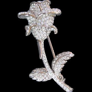Gorgeous NOLAN MILLER Rhinestone Rose Stem Brooch Pin Long Stem Flower