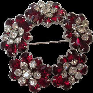 Kramer of New York Circle Brooch Prong Set Ruby Red & Clear Rhinestones Silvertone Pin