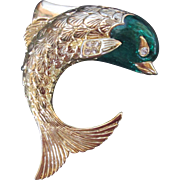 Beautiful Dolphin Brooch Gold Tone Green Enamel Designer Signed