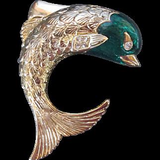 Beautiful Dolphin Brooch Gold Tone Green Enamel Designer Signed