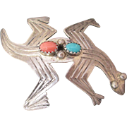 Southwestern Indian Lizard Brooch Signed ARP Sterling Turquoise Coral