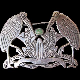Fabulous Southwestern 980 Silver Birds w Turquoise Brooch Pin