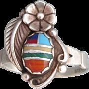 Southwestern Indian Sterling Mosaic Ring Size 9-1/4 Designer Signed