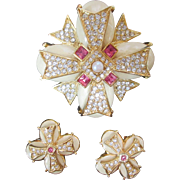 Joan Rivers Maltese Cross Brooch Earrings Vintage Pin Set Signed