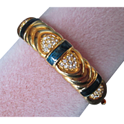 Joan Rivers Bangle Bracelet Medium Blue Enamel Gold Plated w Crystal Insets Hinged