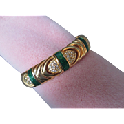 Joan Rivers Bangle Bracelet Emerald Green Enamel Gold Plated w Crystal Insets Hinged