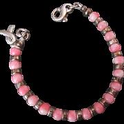 Lovely Angelskin Coral & Sterling Bead Bracelet w Breast Cancer Awareness 925 Charm