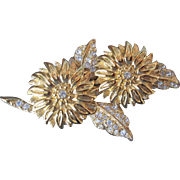 Joan Rivers Duette Brooch with Earrings Gold Tone w Crystal Floral Flowers
