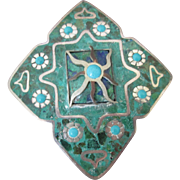Sterling Inlaid Crushed Turquoise Taxco Mexico Brooch Pendant Signed Pin
