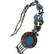 Vintage Tribal Necklace Silver Pendant w Coral Turquoise Nuggets Silver Beads
